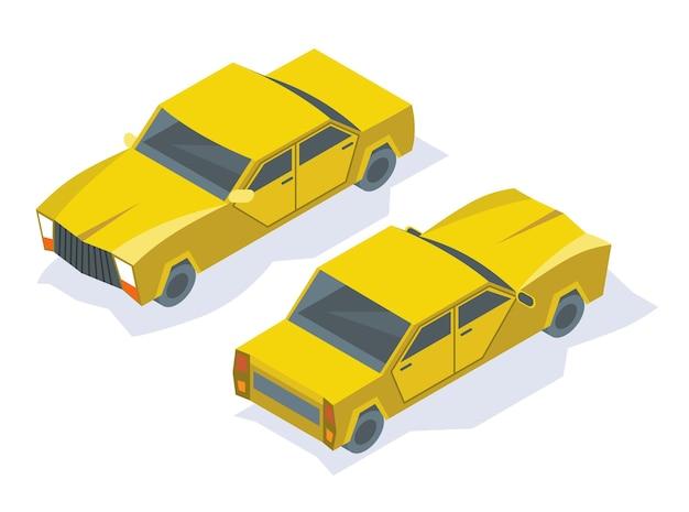 現代の等尺性の車のアイコンのデザイン。乗客またはサービスのための都市交通。