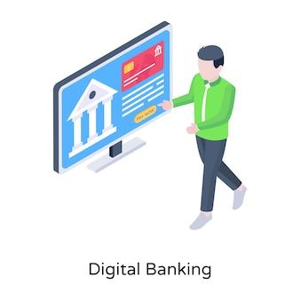 Современная изометрическая концепция цифрового банкинга