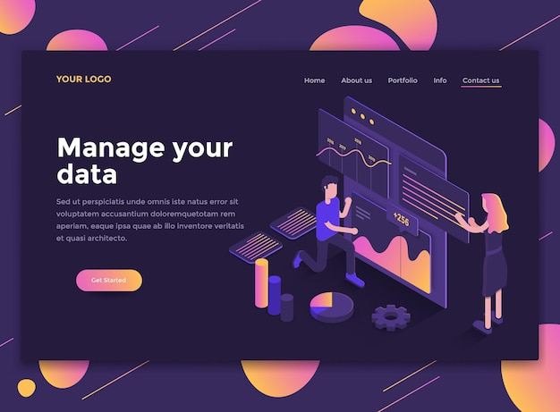 Modern isometric concept of manage your data
