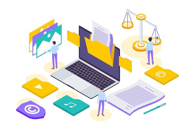 現代の等尺性著作権とインターネット技術法の図