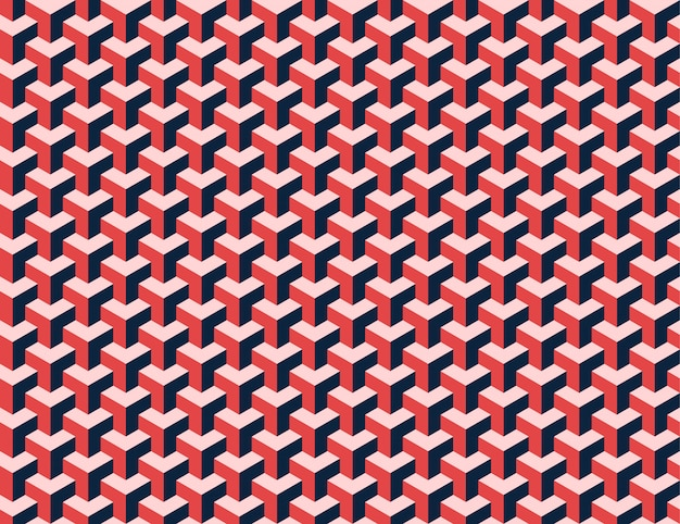 Modern isometric cubes red seamless pattern