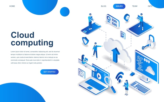 Modern isometric design concept of cloud technology