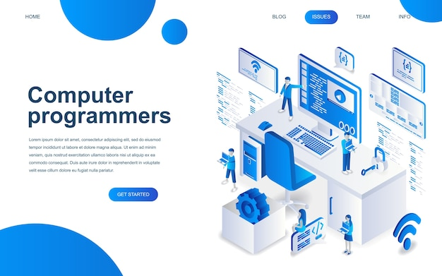 Modern isometric design concept of computer programmers