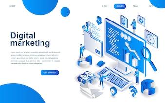 Modern isometric design concept of Digital Marketing