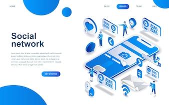 Modern isometric design concept of Social Network