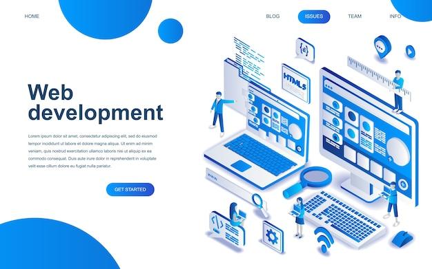 Web開発の現代アイソメトリックデザインコンセプト