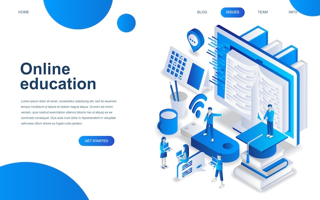 Modern isometric design concept of online education