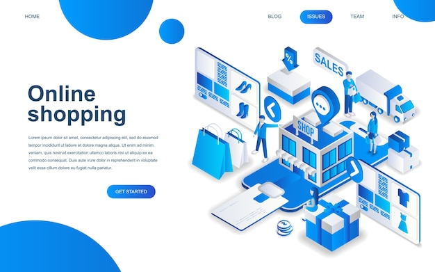 Modern isometric design concept of online shopping
