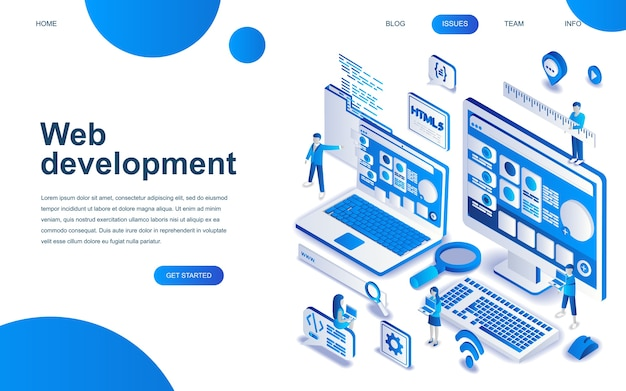 Modern isometric design concept of web development