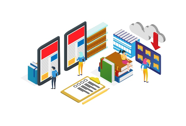 Modern isometric digital library illustration