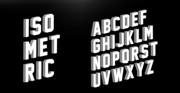 Modern isometric font alphabet