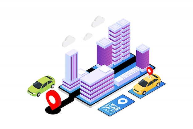 Modern isometric gps app illustration, online taxi service