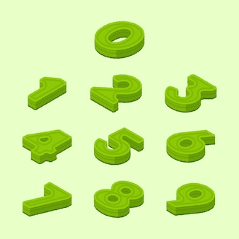 Modern isometric hedge style digits numbers collection 0-9