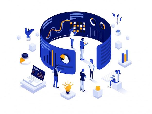 Modern isometric illustration design -data analysis