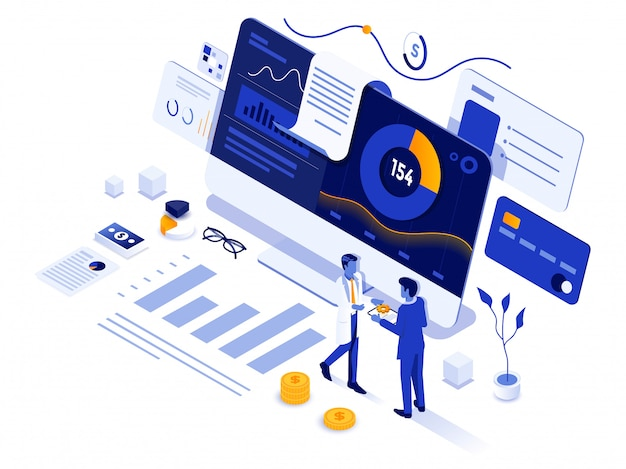 Modern isometric illustration design - financial management