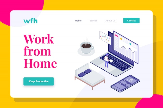 Modern isometric illustration landing page work from home, web banners, suitable for diagrams, infographics, book illustration, game asset, and other graphic assets