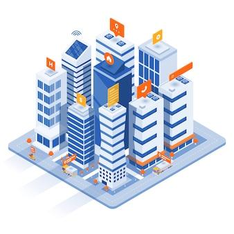 モダンなアイソメ図-スマートシティのコンセプト