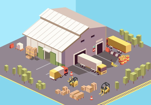 Modern isometric illustration of warehouse logistic