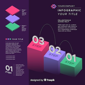 Modern isometric infographic steps concept