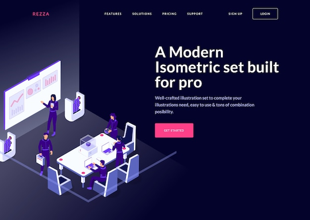 Modern isometric landing page concept