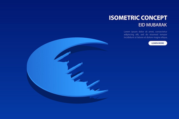 Modern isometric moon and mosque concept greeting card of eid mubarak on blue background.