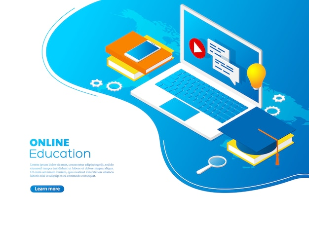 Modern isometric online education concept.