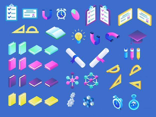 Modern isometric online education icons