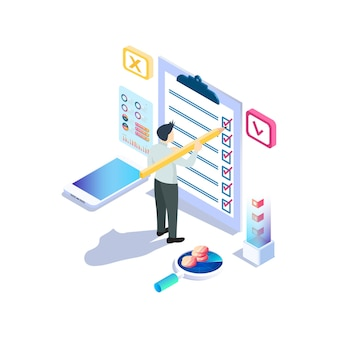 Modern isometric online survey concept with character