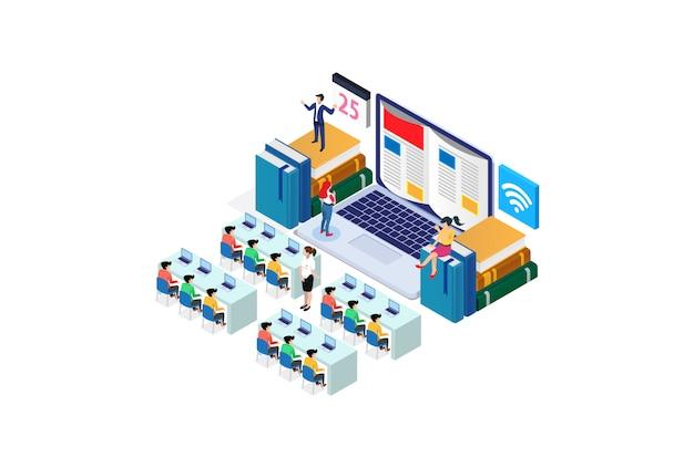 Modern isometric smart e- webinar training technology illustration
