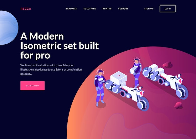 Modern isometric space banner