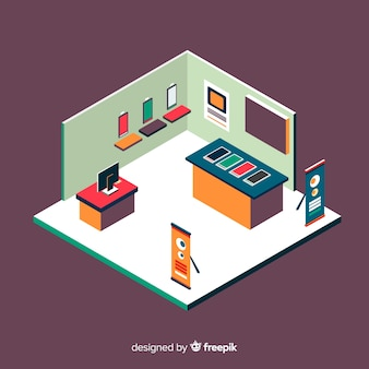 Modern isometric stand exhibition vector