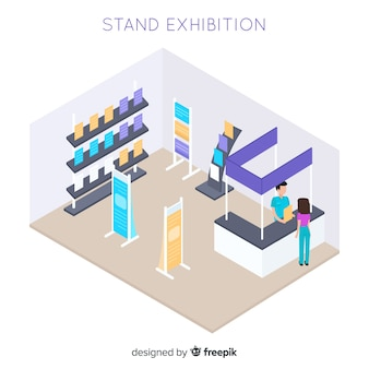 Modern isometric stand exhibition