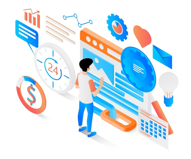 Modern isometric style illustration about effective and sustainable marketing strategy