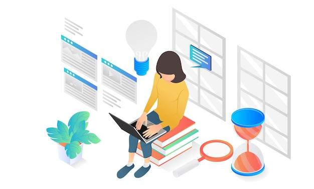 랩톱으로 작업하는 웹 사이트 콘텐츠 작성자에 대한 현대적인 아이소메트릭 스타일 그림