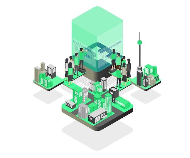 Modern isometric style illustration of marketing strategy on social media
