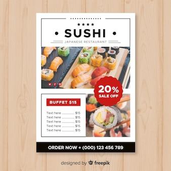Modern japanese restaurant flyer template