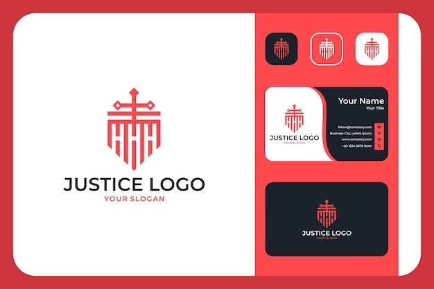 Modern justice with shield logo design and business card
