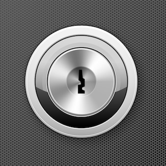 モダンな鍵穴-ドアロックアイコン、平らな鍵穴、銀行セルアクセスコンセプト