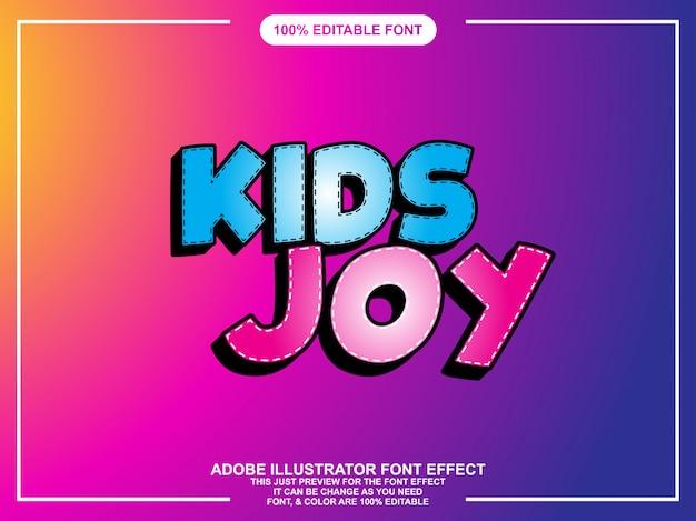 Modern kids text effect editable typography