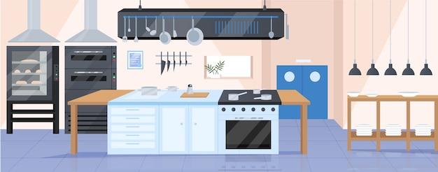 Современная кухня плоского цвета. ресторан шеф-повар на рабочем месте 2d мультфильм дизайн интерьера с посудой на фоне. рабочее место профессионального повара, пустой декор кулинарной мастерской