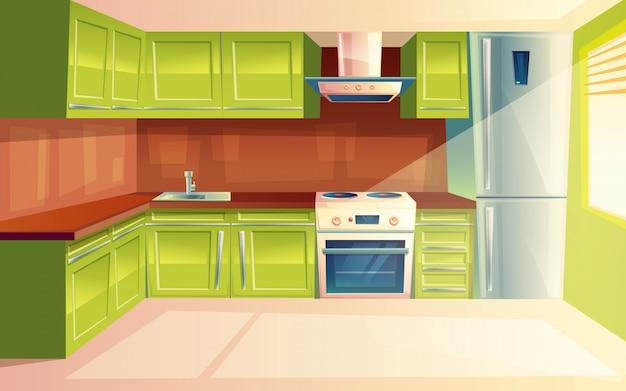Modern kitchen interior background template.