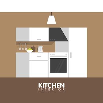 Modern kitchen interior design icon.