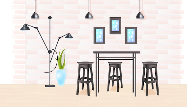 Modern kitchen interior empty no people house room or cafe with table and chairs horizontal vector illustration