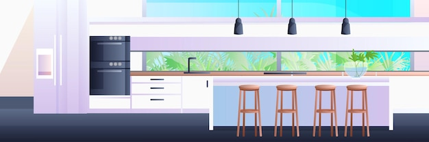 Modern kitchen interior empty no people house room horizontal  illustration