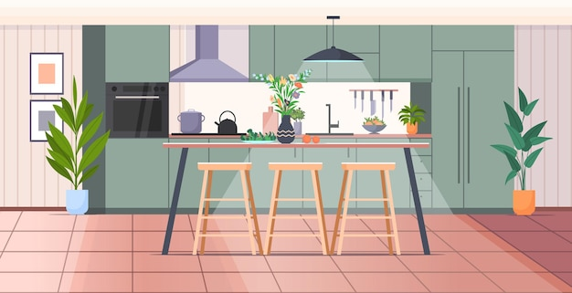 Modern kitchen interior empty no people house room horizontal vector illustration