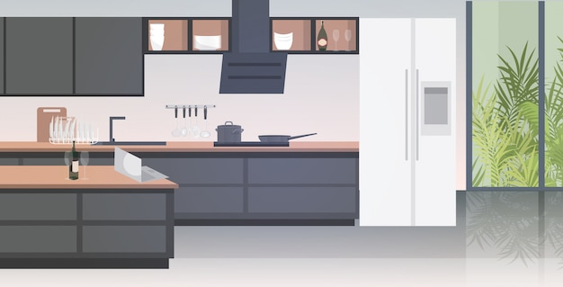 Modern kitchen interior empty no people house room with furniture horizontal