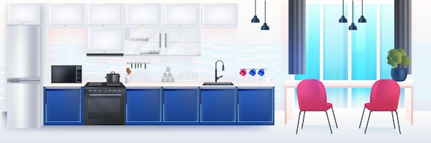 Интерьер современной кухни пустой без людей дом комната с мебелью