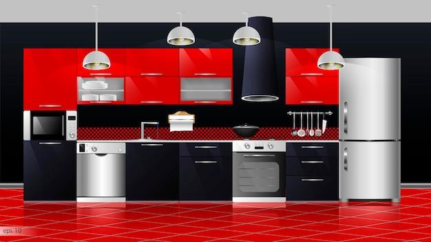 モダンなキッチンインテリア。ベクトルイラスト。家庭用食器棚、棚、ガスコンロ、コンロ、冷蔵庫、電子レンジ、食器洗い機、調理器具