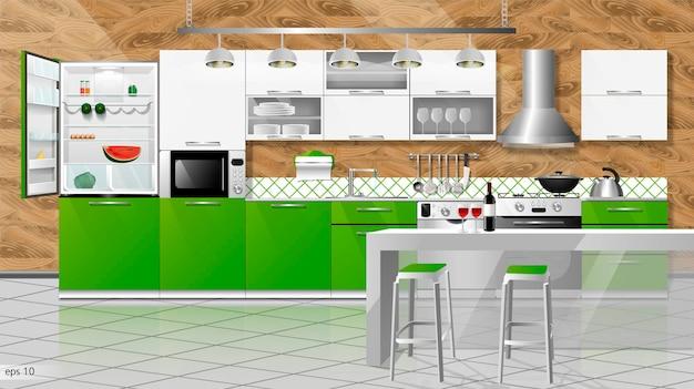 현대 부엌 인테리어입니다. 벡터 일러스트 레이 션. 가정용 주방 가전 캐비닛, 선반, 가스 스토브, 밥솥 후드, 냉장고, 전자 레인지, 식기 세척기, 조리기구