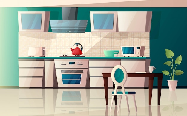 Modern kitchen interior with equipment. oven, microwave, kettle, toaster, extractor hood, table, chair and pot with plant. cartoon   illustration.